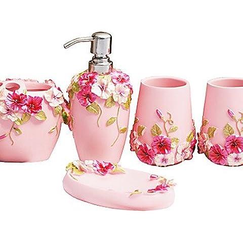 faym @, Conjunto de baño, 5piezas, Country Style Rosa Material ABS, accesorios de baño