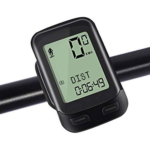 NACATIN Drahtloser Fahrradcomputer, Multifunktionaler IPX6 Wasserdichter 2.4GHz Fahrrad Computer mit Großer LCD-Anzeige, Eingebauter 3D-Sensor,Abstand/Zeit/Kalorien/Temperatur-Verfolgung