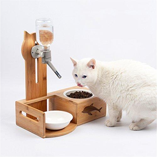 Botella De Agua Automática Cat + Cuenco De Cerámica Con Soportes De Madera- Dispensador De Agua De Alimentos Bebedero De Platos Para Pequeña Y Mediana Mascota Perro Cat Puppy Kitten Bebe Alimentación