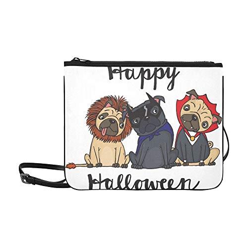 AGIRL Karikatur-Zeichnung drei nette Mops kleidete kundenspezifische hochwertige Nylon-dünne Handtasche Umhängetasche Umhängetasche