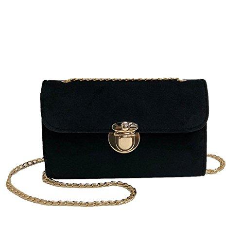 Hipster Bag Crossbody Messenger (Damen Mode Taschen FORH Frauen Hipster Gold samt Umhängetasche Kette Schultertaschen Handtasche Shopper Messenger Bag (Schwarz))
