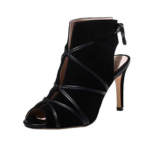 SKTWOE Black Cross-Gebunden High Heels, Pumps-Veloursleder-Reizvolle Geöffnete Zehe-Schuhe Mit V Front Sandalen Für Hochzeitsfest,38EU