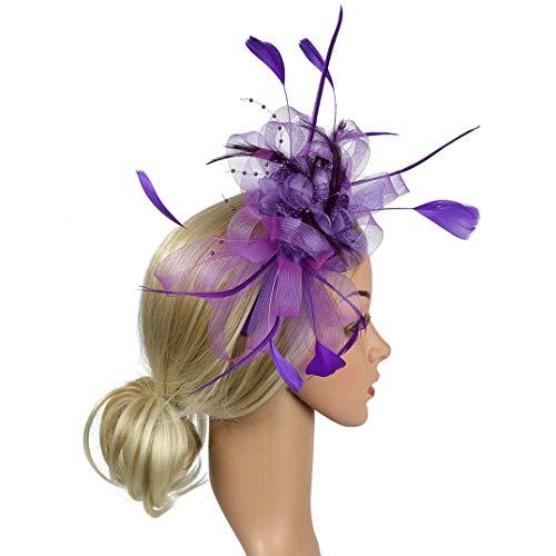 HARORU Elegante Schleier Mesh Feder Fascinator Hut Bowknot Haarschmuck Blume Hochzeit Frauen Bankett Kirche