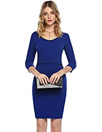 e1ee9f2d037824 ACEVOG Damen Bleistiftkleid Elegant Bodycon Business Kleid V Ausschnitt 3/4  Ärmel Knielang Hohe Taille