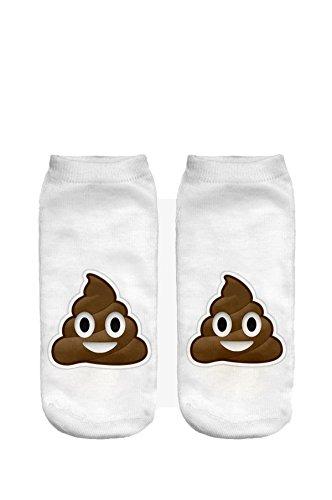 Ferocity Lustige Socken Sneaker Halbsocken Strümpfe Sportsocken Füßlinge mit Motiv 3D Poop [001]