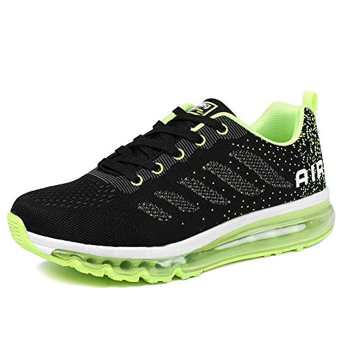Uomo donna air scarpe da ginnastica corsa sportive fitness running sneakers basse interior casual all'aperto black green 45 eu