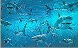 Hxfhxf Requin du monde sous-marin stéréoscopique 3D de papier peint moderne pour des peintures murales de salon non tissées-220X140CM