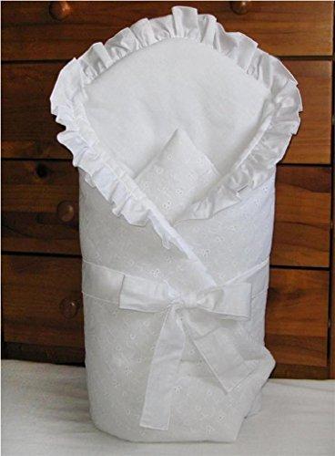 Baby Comfort Wickeltuch Decke für Neugeborene, 80x80cm, Weiß