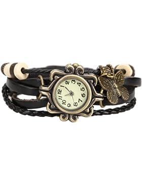 Boolavard Damen oder Herren Leder Armbanduhren, Mode Armband mit Schmetterling, Einfachen Stil Zifferblatt.