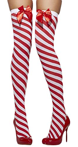 Kostüm Strumpf Weihnachts - Fancy Me Damen rote weiß grün gestreift Weihnachten Sexy Miss Mrs Weihnachtself Kostüm Strümpfe Socken - rot/weiß gestreift, One Size