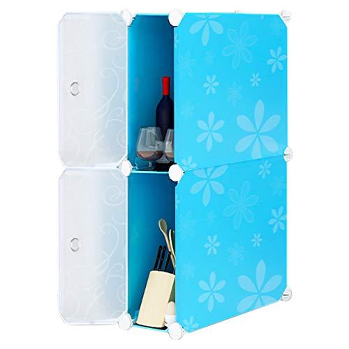 REGAL HUYP 2-lagige Gap-Speicher-Kabinett-Küchen-Gestell-einfaches Mode-Schlafzimmer (Farbe : Blau) (Lebensmittel-speicher-kabinett)