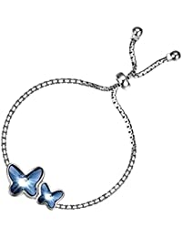 d63a33067da9 T400 Pulsera para Mujer Plata de Ley 925 Brazalete de Mariposas Hecho con  Cristal de Swarovski
