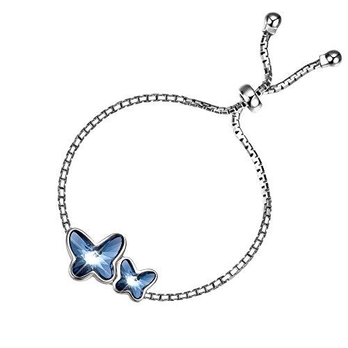 """T400 Jewelers Damen Armband Silber """"Butterfly Lovers"""" mit echten SWAROVSKI Kristall Schmetterlingen,Valentinstag Geschenk (Schmetterling Armband)"""
