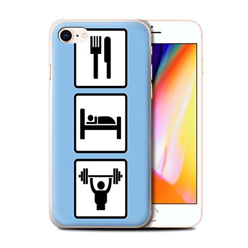 Stuff4 Hülle / Case für Apple iPhone 8 / Fußball/Blau Muster / Essen/Schlaf Kollektion Heben/Turnhalle/Blau