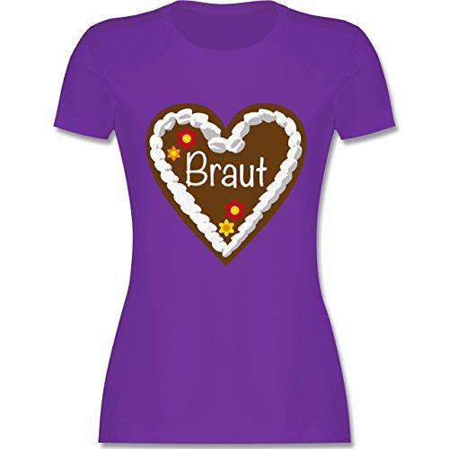 JGA Junggesellinnenabschied - Lebkuchenherz Braut - tailliertes Premium T-Shirt mit Rundhalsausschnitt für Damen Lila