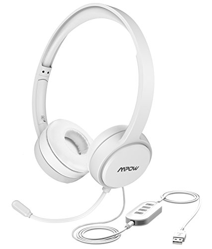 Mpow USB Headset / 3.5mm Computer Chat Headset mit Mikrofon Geräuschunterdrückung, PC Headset Wired Kopfhörer Business Headset für Skype, Telefon, Call Center usw. Weiß (Usb Headset Für Call-center)
