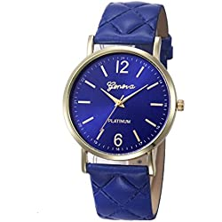 WINWINTOM Roman Leather Band Analog Quartz Wrist Watch Navy Blue