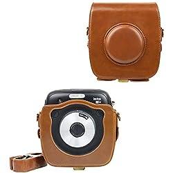 SUNYOY PU Housse en cuir pour appareil photo instantané hybride Fujifilm Instax Square SQ10 (marron)