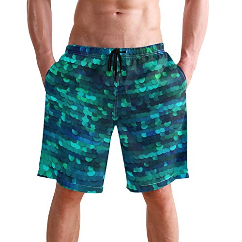 WTZYXS Men's Mermaid Scales Pattern Beach Shorts Summer Swim Trunks for Sports Running Bathing Suits with Mesh Lining XL -