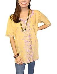 dc7893df7f2 Mogul Interior Womens Beige Tunic Blouse Embroidered Cotton Bohemian Top M