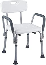 KosmoCare Light weight Imported Aluminum Shower Bench With Back & Detachable Handrest