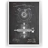Tesla Alternating Electric Current Generator Poster de Patente Patent Póster Con Diseños Patentes Decoracion de Hogar Inventos Carteles Prints Wall Art Posters Regalos Decor - Marco No Incluido