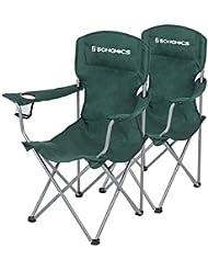 SONGMICS Juego de 2 Sillas de Camping Plegables, Estructura Confortable y Resistente, Máx.