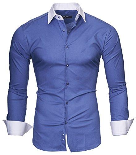 Kayhan Herren Hemd Mailand, Denim Blau (M)