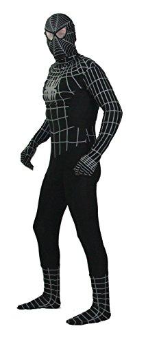 Schwarzes Spiderman Kostüm in Bester Qualität Ganzkörperkostüm in schwarz Modell: Black Spiderman Größe: XXL (Spiderman Kostüm Reißverschluss)
