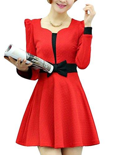 Pétoncle femme à manches longues et col couleur blocage Leisure Robe évasée Rouge