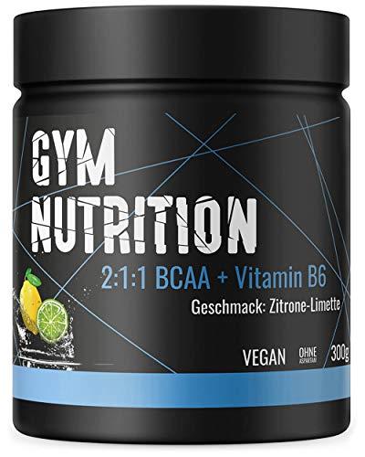 BCAA PULVER + VITAMIN B6 Höchste Dosierung der Amino-Säuren Leucin, Isoleucin und Valin im Verhältnis 2:1:1 Vegan und hochdosiert ZITRONE-LIMETTE