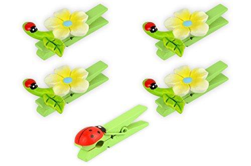 * 5 Dekoklammern aus Holz mit Dekor | 4 verschiedenfarbige Sets | mit Marienkäfern + Blumen | Zierklammer Sylvester Frühling Ostern (Gelb-Blau)