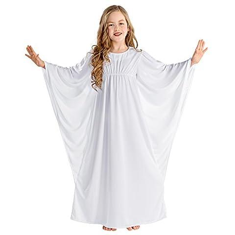 Déguisement de petit ange céleste pour fille costume | robe avec un col relevé à attache auto-agrippante (10-12 ans | no.