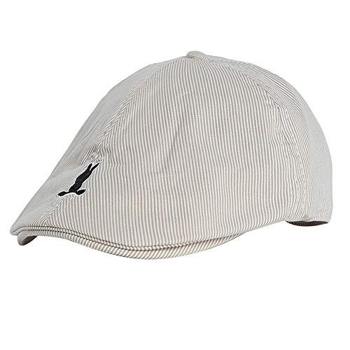 Kinder Kinder Baskenmütze Cap, Casual Kaninchen Muster Streifen Baumwolle Zeitungsjunge Flat Hat (Beige) -