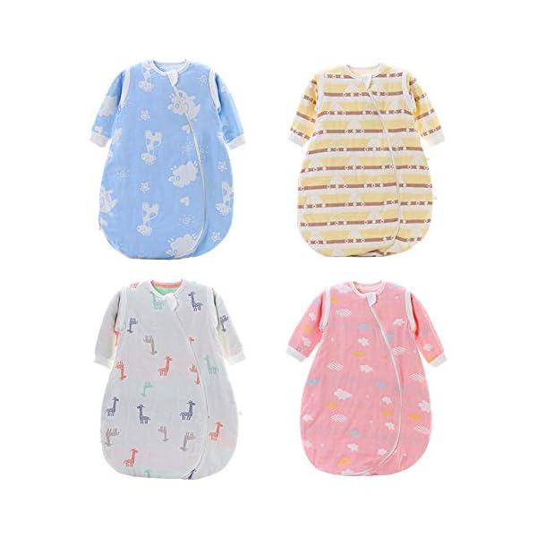 Dtcat Saco de Dormir para bebé de Manga Larga,Pijama de una Pieza para bebé,Saco de Dormir de Gasa para bebé @ White_L,Saco de Dormir de Invierno para niños pequeños con Mangas