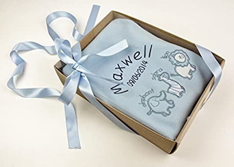 Personalised Luxury Blue ' Animals ' Baby Blanket in Gift