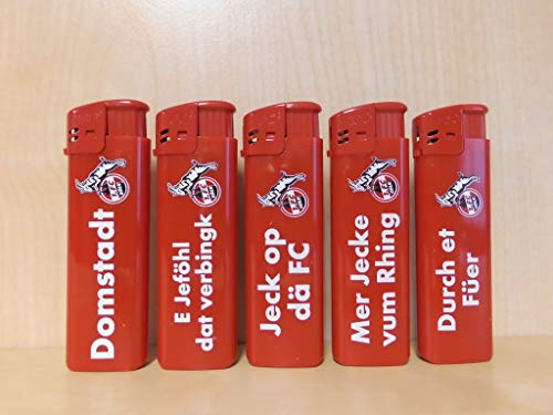 1. FC Köln - Feuerzeuge 5er Set - Elektronik - PIEZO - Elektrofeuerzeug - Feuerzeug - Fanartikel - Fußball - mit Sprüchen -