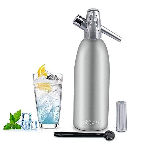 Baskiss Soda Siphon - Aluminium - 1 Liter - Bereiten Sie Sprudelwasser mit Leitungswasser oder aus der Flasche vor - Bereiten Sprudelwasser vor wann Sie es vollen