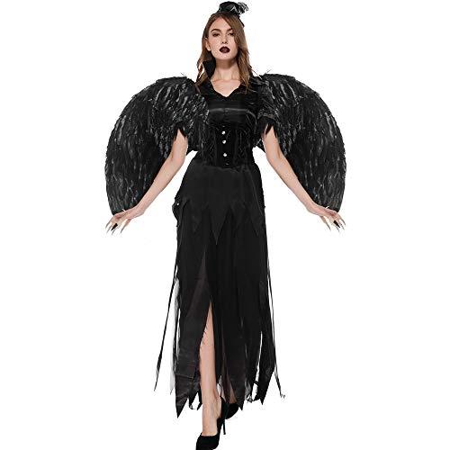 Kostüm Schwarz Gefiederten Flügel - VeiXu Leder schwarz Teufel gefallen Engel Kostüm Erwachsene Halloween Kostüm Frauen Gothic Hexe Kostüm (Kleid + Flügel + Handschuh),Schwarz,XL