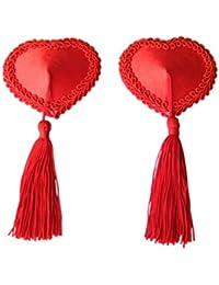 Czj-Innovation Reutilizable Pezoneras Negro Rojo con Borla Forma de corazón