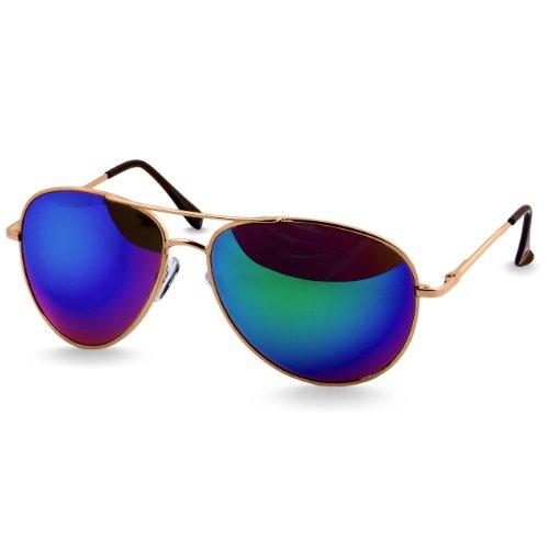 Caspar SG013 klassische Unisex Retro Piloten Sonnenbrille, Farbe:gold/lila verspiegelt