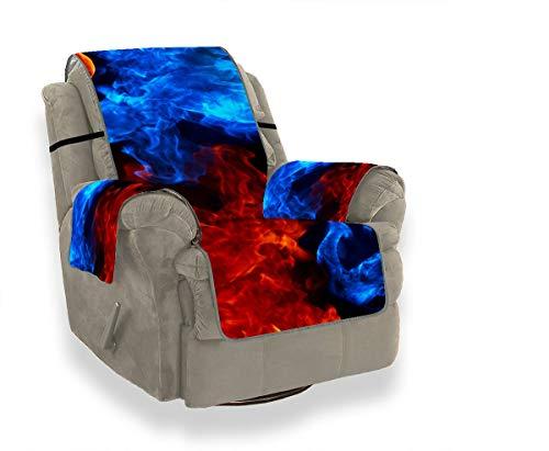 Rosso Giallo Blu Fiamma Texture Pattern Fiamme Fuoco Set di cuscini per divani Divano Rivestimento avvolgente T Cuscino elasticizzato Copridivano Protettore per animali domestici, Bambini, Gatti, Div