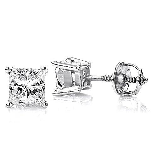 Luxurman 18k Gold Solitaire Princess Cut Diamond Stud Earrings (White Gold)