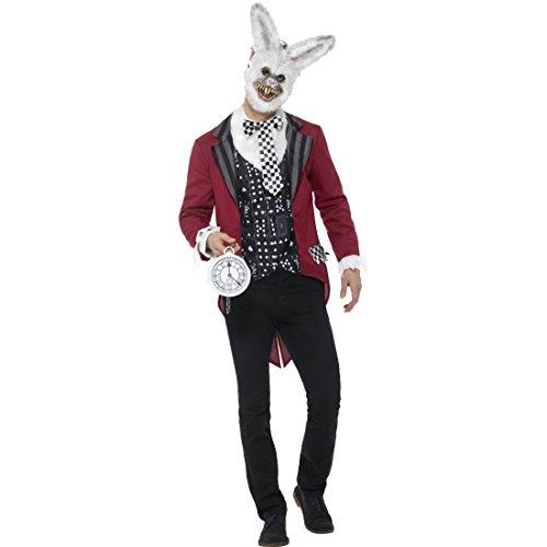 Amakando Weißer Hase Männerkostüm - M (48/50) - Hasenkostüm White Rabbit Horror Hase Karnevalskostüm Benny Bunny Verkleidung Alice im Wunderland Weißes Kaninchen Kostüm (White Wunderland Rabbit Kostüm)