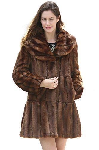 Damen Mit Xl Fell Mantel Für (Ovonzo Damen Klassischer Mantel Faux Fell mit Kuenstliches Zabelfell Knielanger Braun Größe XL)