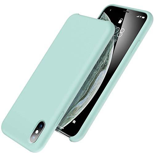 UGT iPhone XS Max Hülle, flüssiges Silikon-Gummi, dünn, stoßfest, Mikrofaser-Innenfutter, kompatibel mit Apple iPhone XS Max 6,5 Zoll, Mint