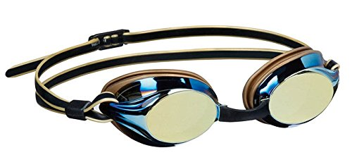 Beco Wettkampfschwimmbrille Boston Mirror Taucherbrille Anti-Fog gold