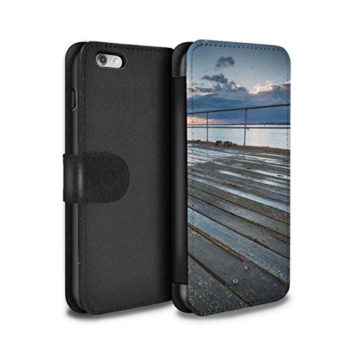 STUFF4 PU-Leder Hülle/Case/Tasche/Cover für Apple iPhone 6+/Plus 5.5 / Pavillon Theater Muster / Englische Strand Kollektion Pier Sicht