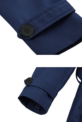 Wantdo Damen Mantel Zweireiher Lange Trenchcoat mit Gürtel Navy Small - 6