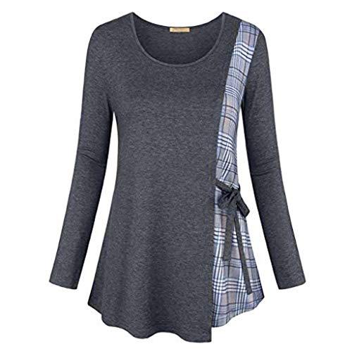 Dorical Damen Winter Gitter Printed Langarm T-Shirt mit Bogen/Lose Sweatshirt/Frauen Lang Sleeve Warm Pullover/Sweater/Winterpullover/Freizeit Streetwear/Oberteil Tops(Grau,XXXX-Large) -